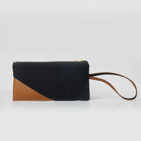 Cotton Emboss Wristlet in Black/Brown