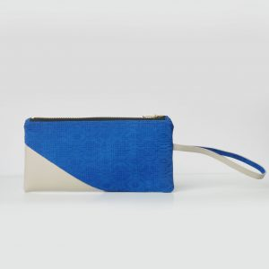 Cotton Emboss Wristlet in Blue/White