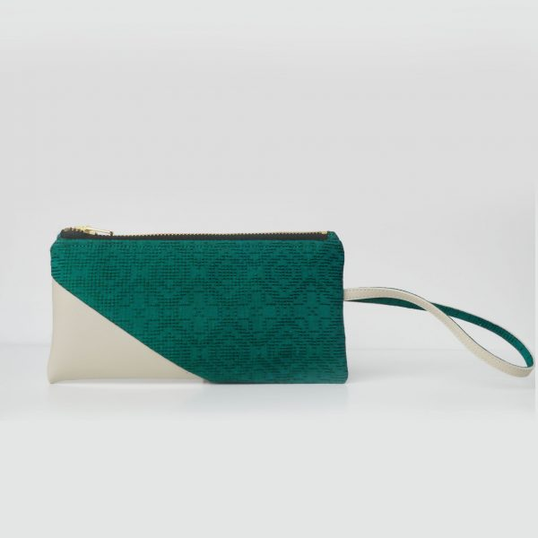 Cotton Emboss Wristlet in Green/White