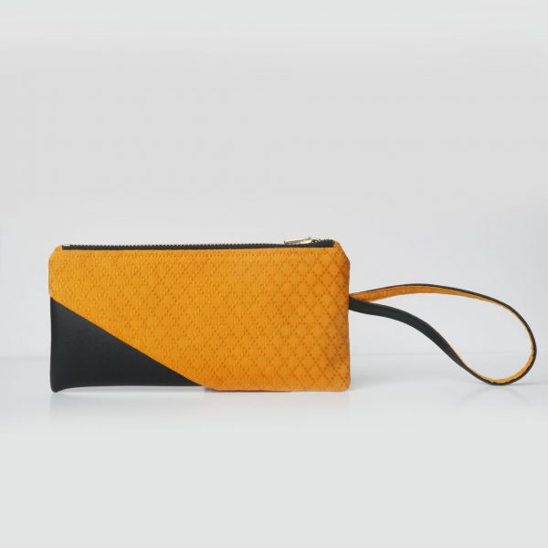 Cotton Emboss Wristlet in Orange/Black