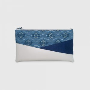 Blue Batik with Gold Motif & Cream PU Leather Bottom