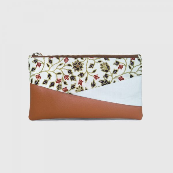Cream Batik & Brown PU Leather Bottom