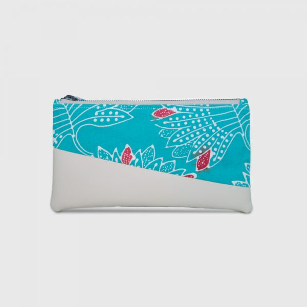 Turquoise Cotton Batik & Cream PU Leather Bottom