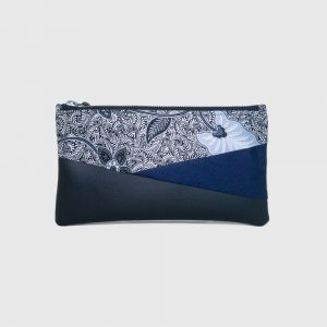 White Batik & Black PU Leather Bottom